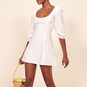 Reformation White Linen Dress (2)